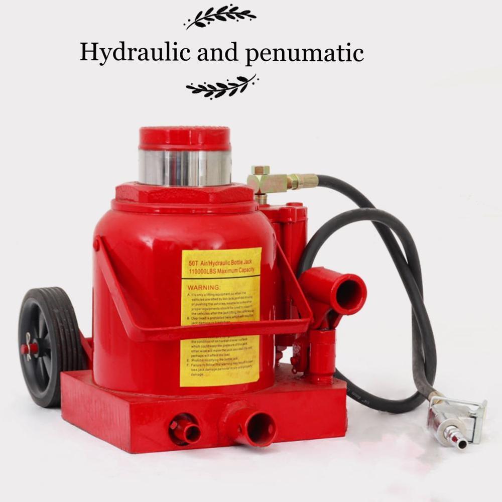 Gato neumático hidráulico de doble uso manual de 50 toneladas herramienta de cambio de neumático de reparación horizontal cilindro hidráulico con ruedas