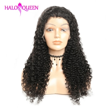 HALOQUEEN Lace Closure Wigs Kinky Curly Peruvian Human Hair Wigs Pre Plucked 8-24 Inch Remy Human Hair