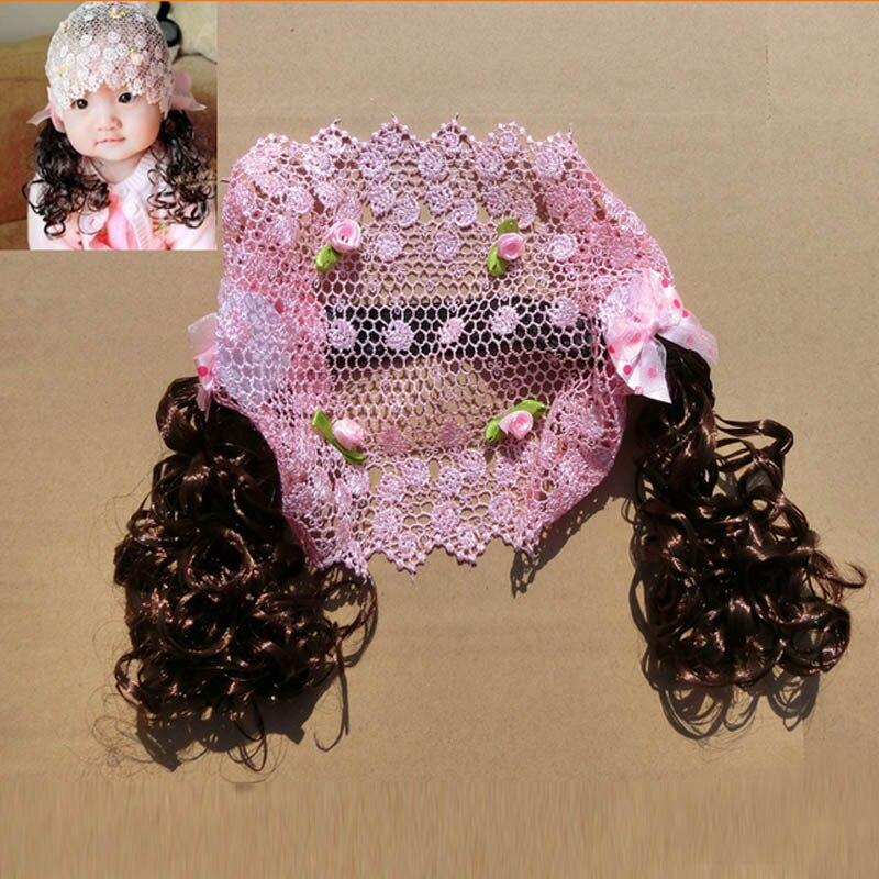 Cute Babys Girls Little Flower Wig Hollow Out Head Band Photography Props Headbands Pink Headdress Gift