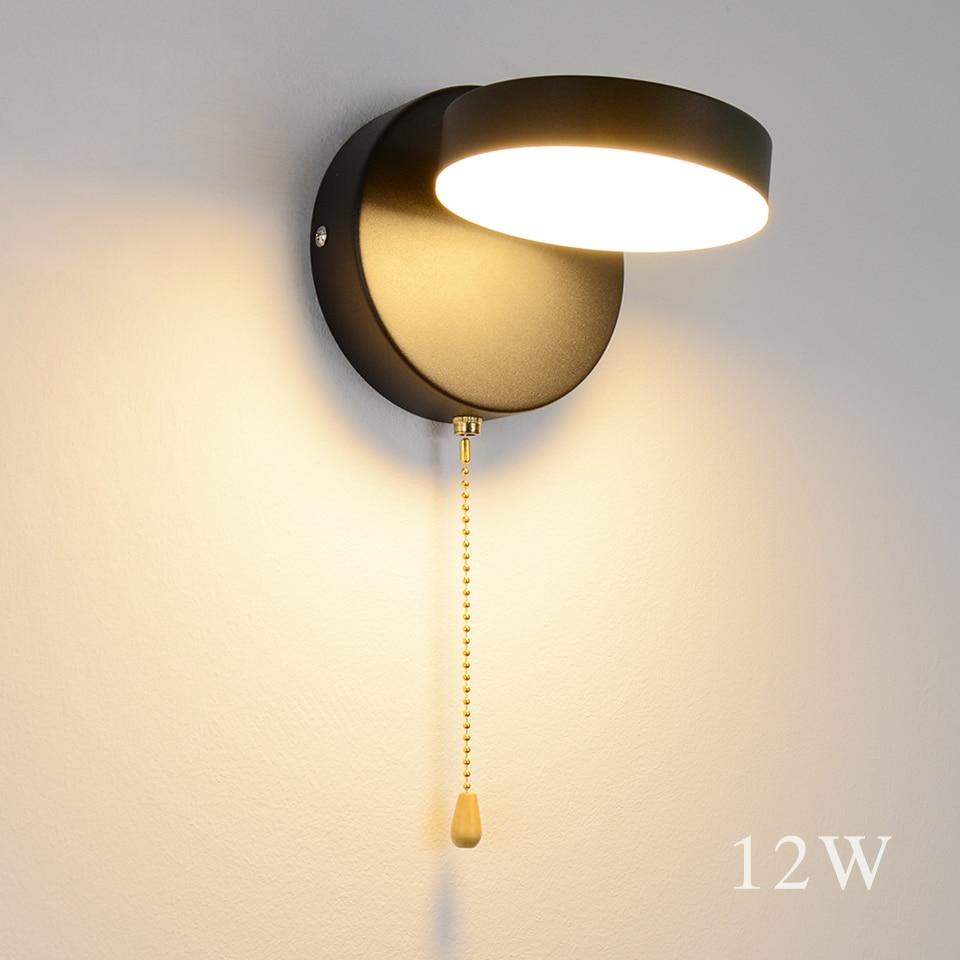 Nordeic Led lámpara de pared 3 colores iluminación con interruptor de pared 12W blanco negro interior moderno para el hogar escalera dormitorio cabecera