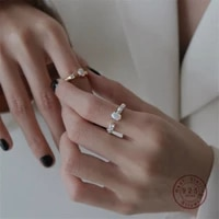 hi man s925 sterling silver ins bump texture opalite opening adjustable ring women fashion simple banquet jewelry