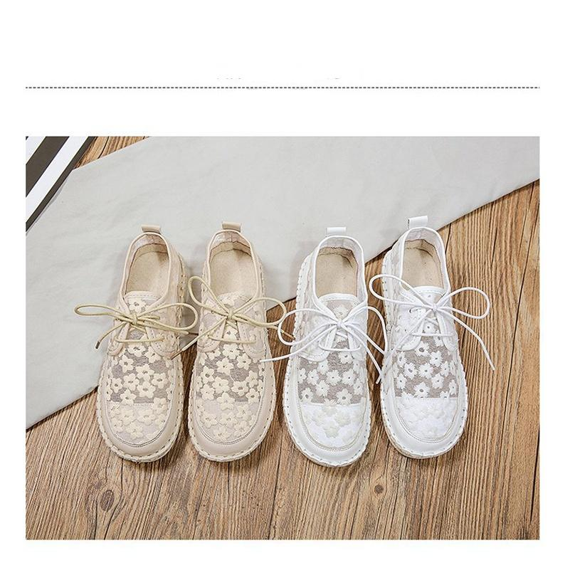 2021 Summer New Women's Mesh Lace Flower  Casual Shoes Fashion Flats Shoes Women Shallow solid color Breathable Vulcanized Shoes