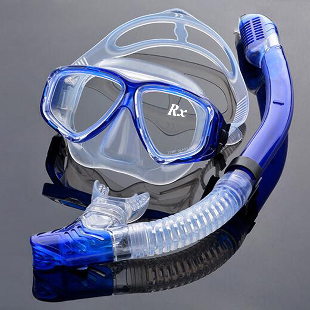 Optical Diving Gear Kit Myopia Snorkel Set, Different Strength for Each Eye, Nearsighted Dry Top Scuba Mask deepgear nearsighted diving mask for adult clear pc myopia lens scuba mask short sighted divers scuba mask top snorkel gears