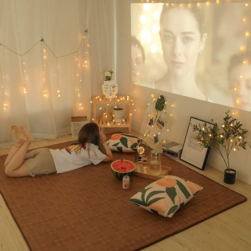 Alfombrilla de bambú rectangular Tatami de área grande antideslizante de absorción de agua sala de estar dormitorio sólido chico alfombra para gatear