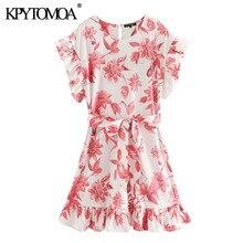 KPYTOMOA Women 2020 Chic Fashion Floral Print Ruffled Mini Dress Vintage Short Sleeve With Belt Female Dresses Vestidos Mujer