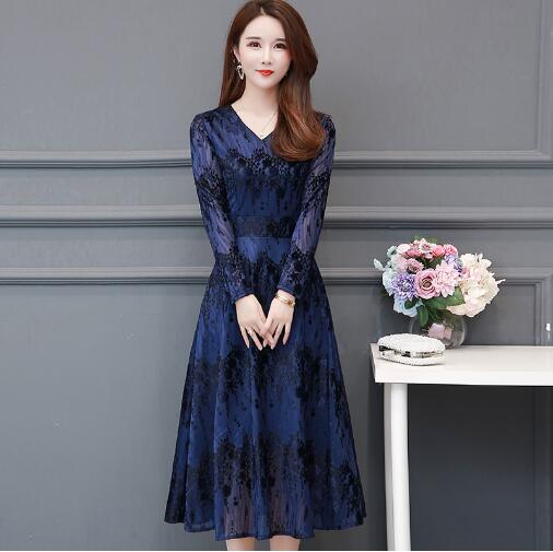 2020 nuevo vestido de mujer summe moda cuello redondo manga larga sexy cuello alto agujero cola de pez vestido largo x665