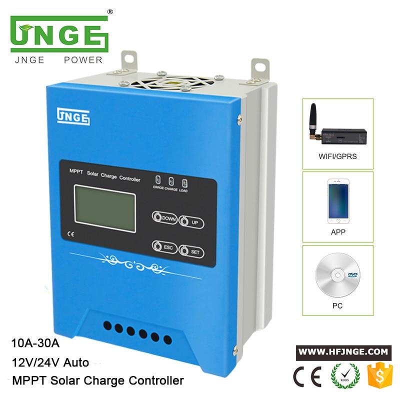 JNGE تصميم جديد باك تهمة 10A 20A 30A 12 فولت/24 فولت السيارات التعرف MPPT جهاز تحكم يعمل بالطاقة الشمسية