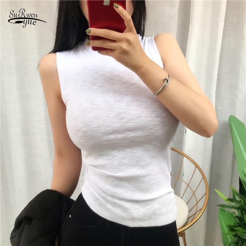 Blusas Mujer De Moda 2020 New Korean Vests Women Top O-neck Solid Tank Summer Fashion Female Sleeveless Casual Thin Tops 9267 50