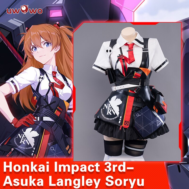 Pre-sale UWOWO Honkai Impact 3rd X EVA Asuka Langley Soryu Cosplay Costume Shirt Skirt Outfits Halloween Carnival Suit