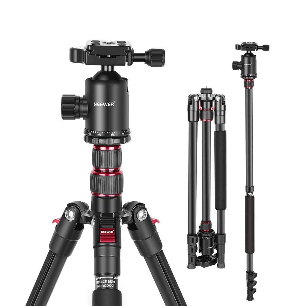 Neewer 77-Inch Tripod, Camera Tripod for DSLR, 2-in-1 Compact Aluminum Tripod Monopod with 360 Degree Ball Head, 2 Center Axis innorel rt30 professional aluminum alloy tripod monopod add ball head max height 197cm 77 6in for outdoor camera video recorder