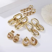 2021 trendy punk jewelry metal chain stud earring exaggerated golden hip hop earring