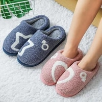 winter plush furry slippers women home cotton shoes 2021 floor warm indoor shoes cozy warm lovely heart shaped couple slippers