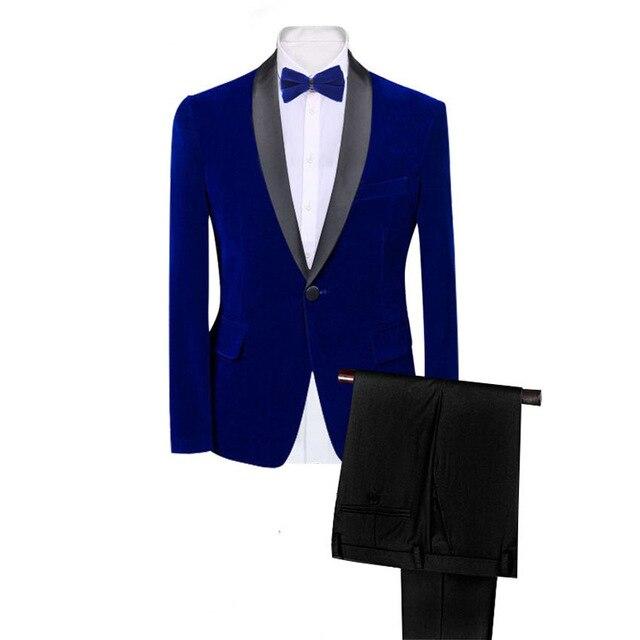 Marca para hombre clásico 2 piezas conjunto de trajes de terciopelo elegante Borgoña azul real negro boda novio delgado en forma smoking Prom Costume