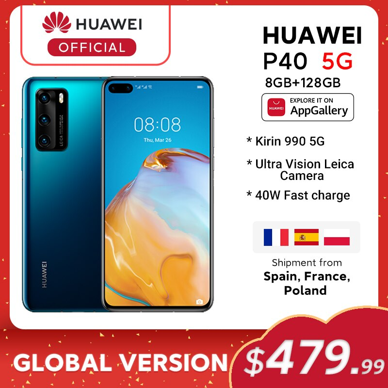 In stock Global Version Huawei P40 5G Smartphone Kirin 990 8GB 128GB 50MP Cameras 6.1 inch Android10 22.5W SuperCharge NFC