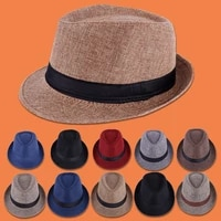 gorras para mujer jazz hat british gentleman elegant style cotton and linen solid color top hat in men and women curled sun hat