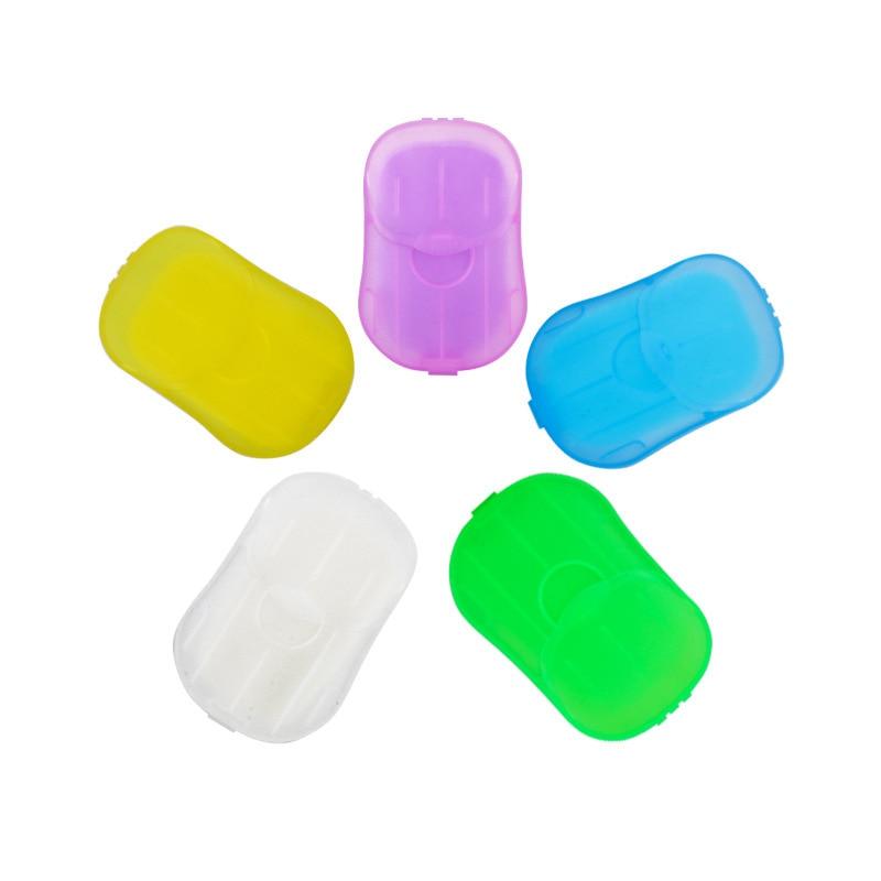 20pcs/Box Random Color Travel Portable Disposable Mini Boxed Soap Paper Make Foaming Scented Bath Washing Hands Paper Soap