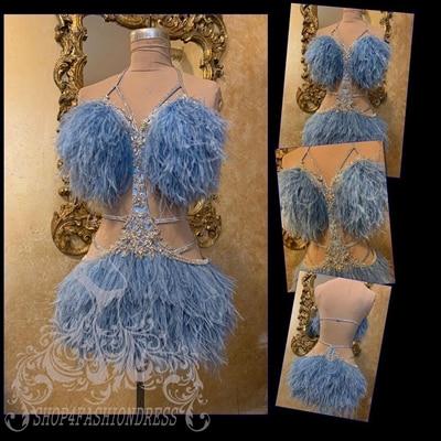 فستان سهرة قصير من الريش ، شفاف ، مثير ، رسن ، بلورات ، فستان كوكتيل ، عرض