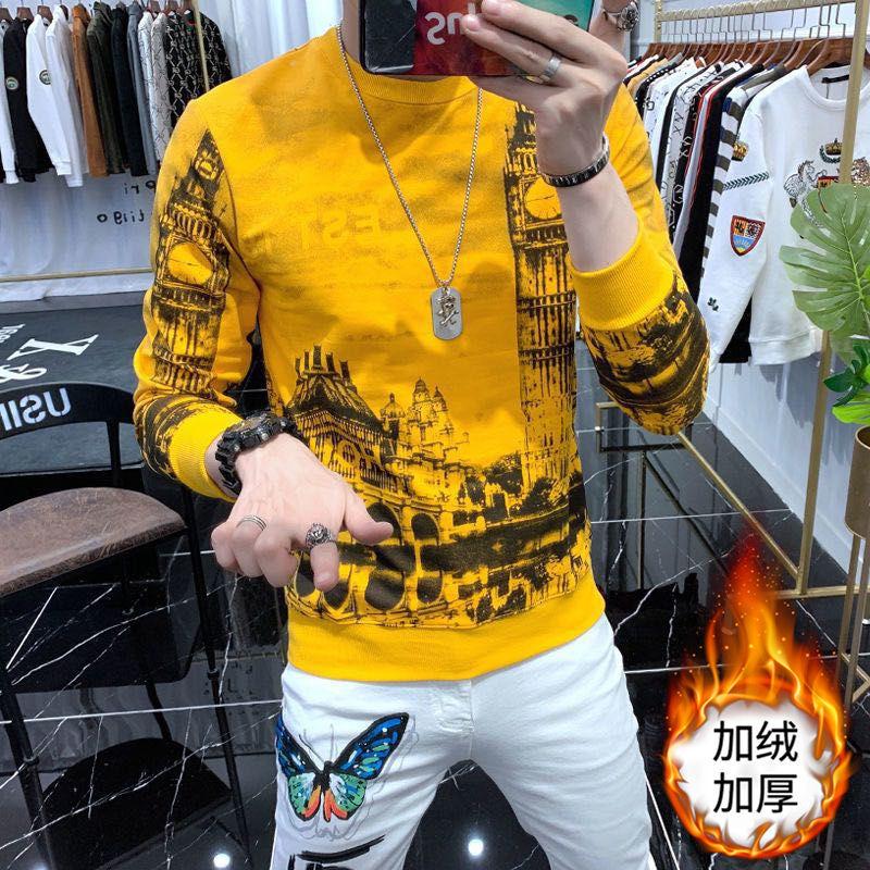 Fall Winter Men's European Fashion Trend Printing Sweater Round Neck Slim Pullover