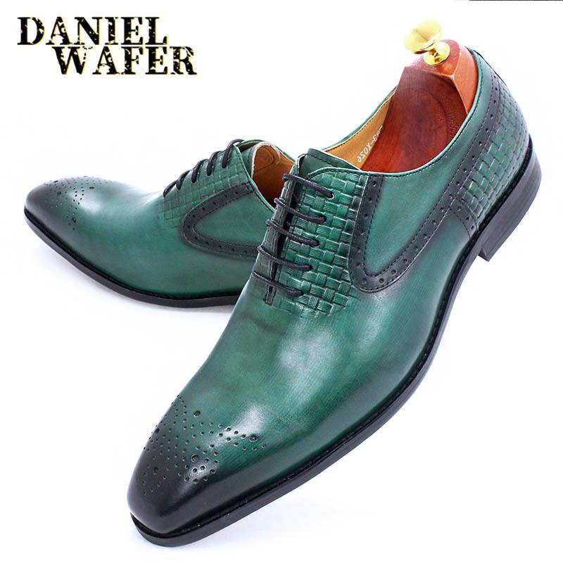 موضة الرجال أكسفورد حذاء جلدي أصلي أسود أخضر نسج أشار الدانتيل يصل فستان فاخر الزفاف مكتب أحذية رسمية الرجال