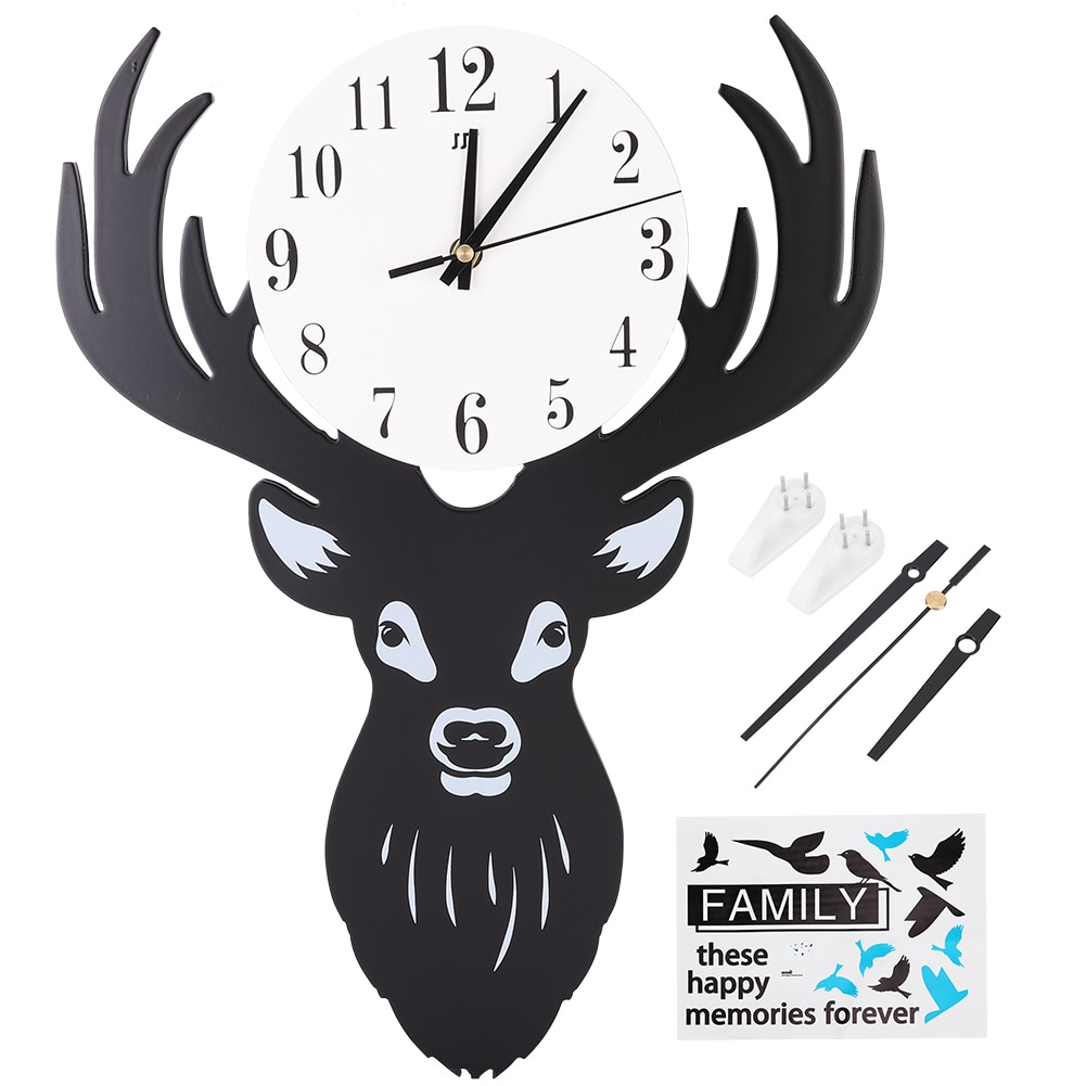 Innovative Deer Shape Beautiful Wall Clock Home Living Room Hanging Cloc FN