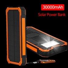 Большая емкость солнечной энергии банк 30000mAh двойной USB Водонепроницаемый Солнечный Банк питания зарядное устройство для всех телефонов Iphone Huawei Xiaomi