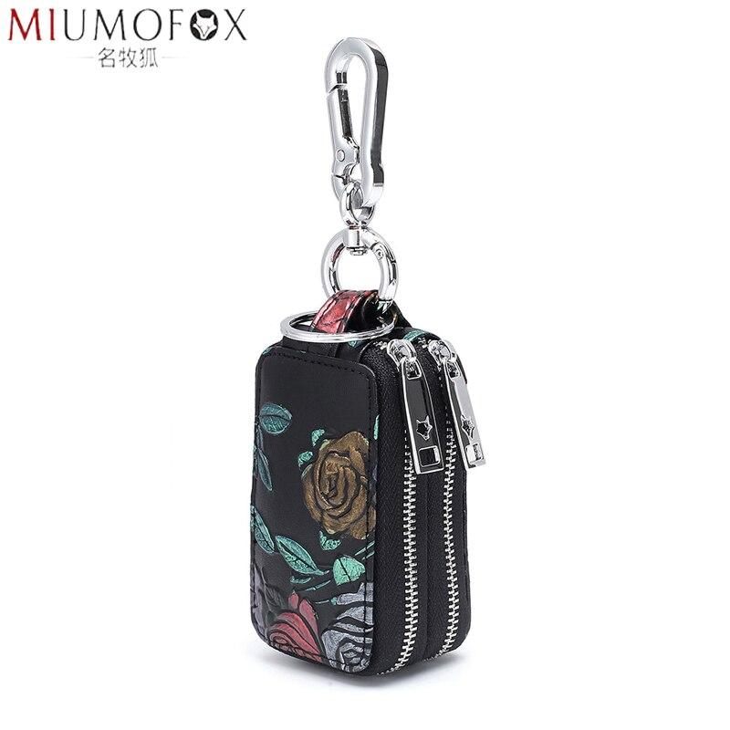 Funda para llave de coche para mujer, piel auténtica, gran capacidad, llavero, bolsa de moda 2020, nueva bolsa de llaves, ama de llaves, llavero Unisex, billetera