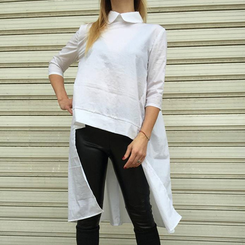 Women White Blouse 2020 Celmia Vintage Laple 3/4 Sleeve Casual Asymmetrical Long Shirts Sexy Back Fold Casual Asymmetrical Tops