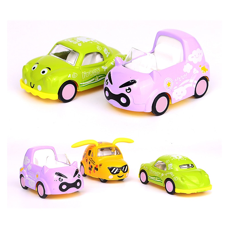 4Pcs Set/lot Mini Cute Alloy Pull Back Car 1:64 Model Lovely Cartoon Friction Toy Cars Educational Children's Toys For Fun