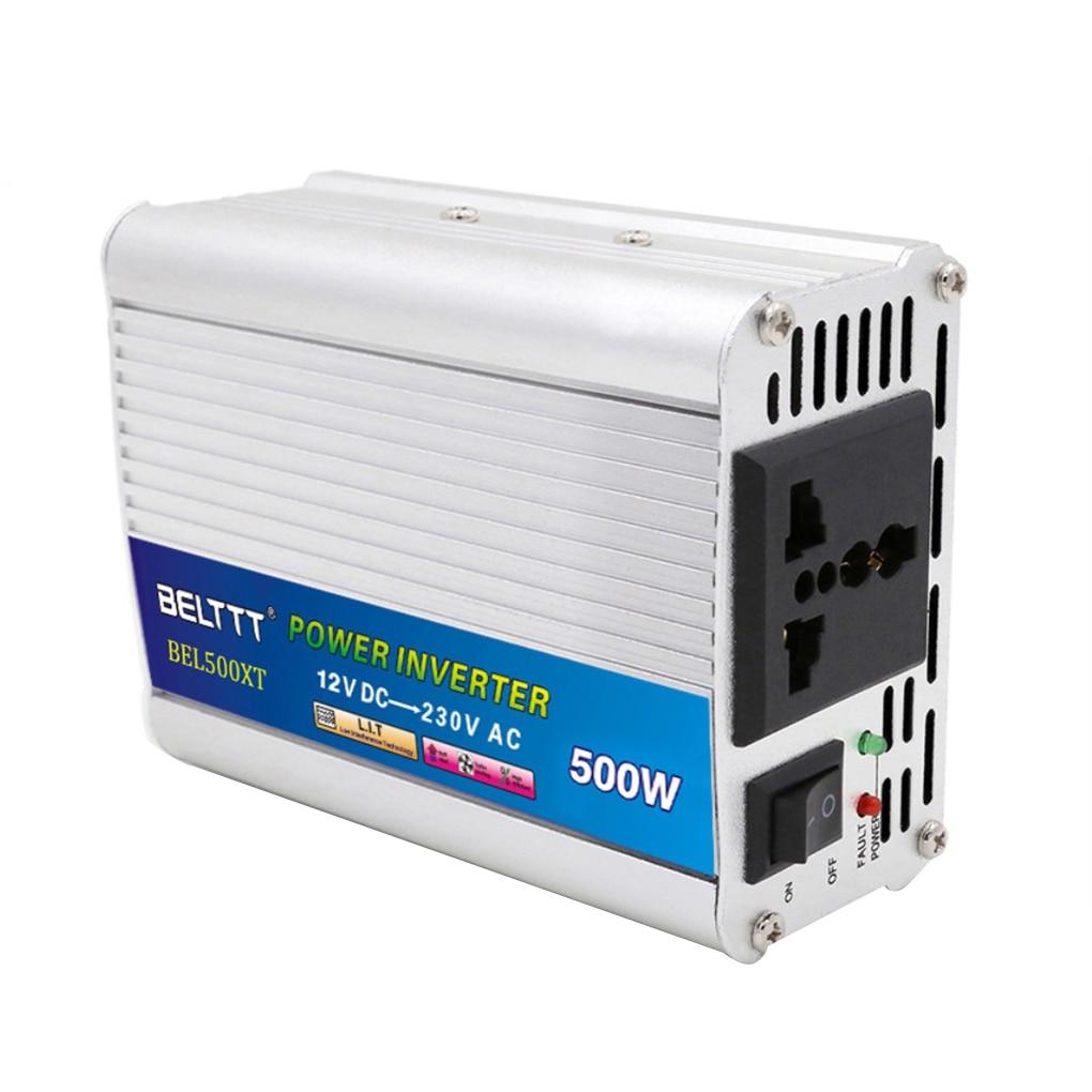 DC 12V AC 220V 500W inversor de energía con ventilador de refrigeración protección de sobrecarga adaptador cargador transformador de voltaje