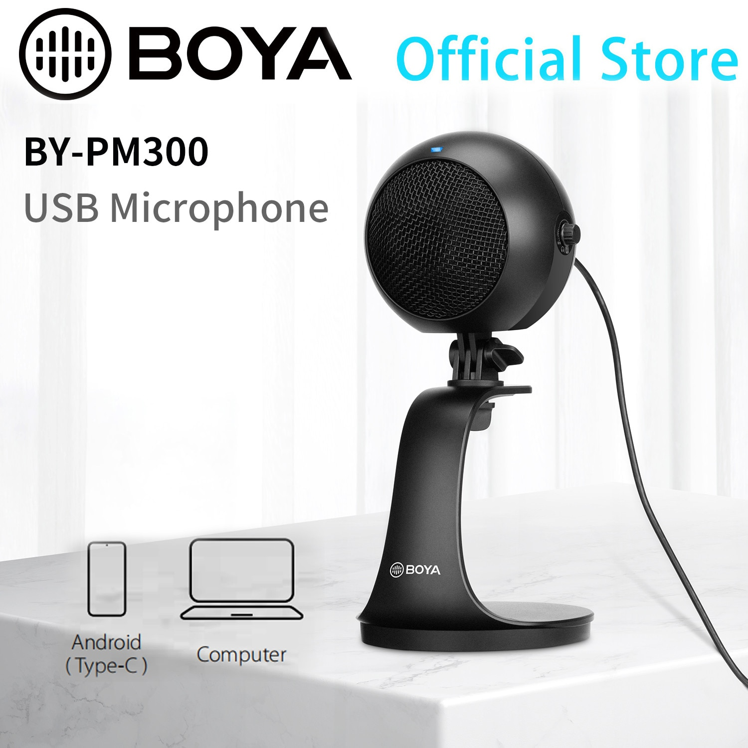 BOYA BY-PM300 Desktop USB Microphone with Android Windows/Mac computers for home-studio recording podcasting vocal performance