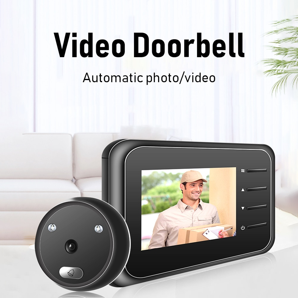 R11 جرس الباب الرقمي الذكي الإلكترونية ثقب الباب المشاهد 2.4 بوصة LCD شاشة ملونة الأشعة تحت الحمراء للرؤية الليلية باب كاميرا فيديو جرس الباب