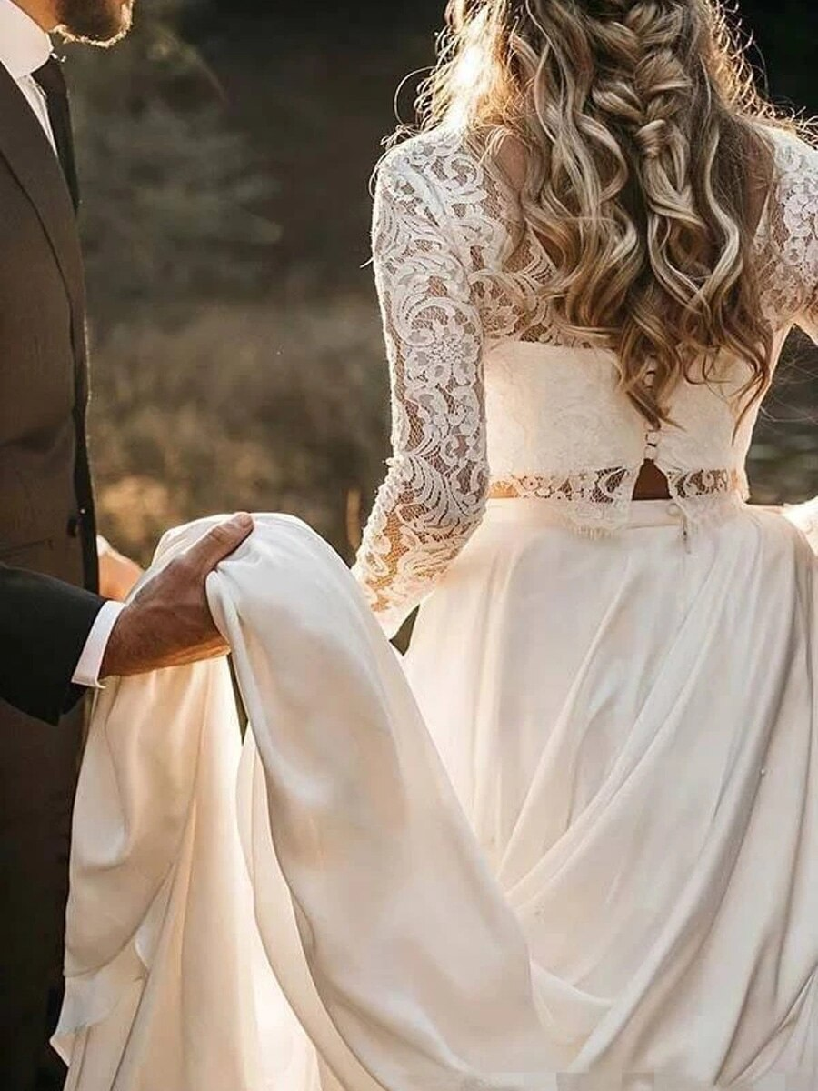 платье Long Sleeve Two Pieces Lace Beach Wedding Dresses Sexy Scoop Neck Chiffon Boho Bridal Gowns Vestido De Noiva