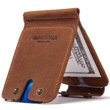 Men Vintage Slim Bifold Wallet Money Clip Business Leather Cash ID Credit Card Holder
