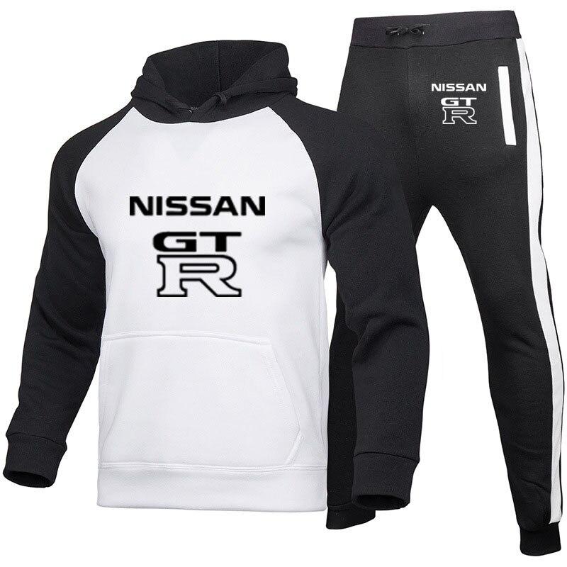 جديد الرجال تيشرت رياضي السراويل الرياضية اللياقة البدنية الركض الرجال قطعتين دعوى GTR شعار سيارة طباعة خياطة اللون الرجال هوديي الملابس