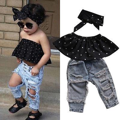 3pcs Toddler Children Baby Girls Clothes Set Dot Sleeveless Tops+Hole Denim Jeans Pants Headband Outfits Clothing Set