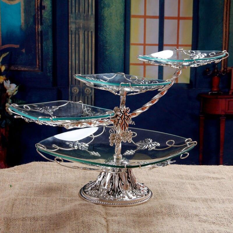 الأوروبية الفاخرة الزجاج أطباق فاكهه غرفة المعيشة الحديثة الفواكه المجففة طبق للوجبات الخفيفة متعدد الطبقات ثلاثة طبقة كعكة الوقوف ZP12171826