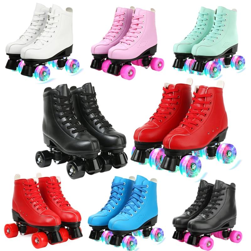 Women 4 Choice Pu Microfiber Roller Skates Skating Shoes Sliding Inline Quad Skates Sneakers Training Europe Size 2 Row 4 Wheels