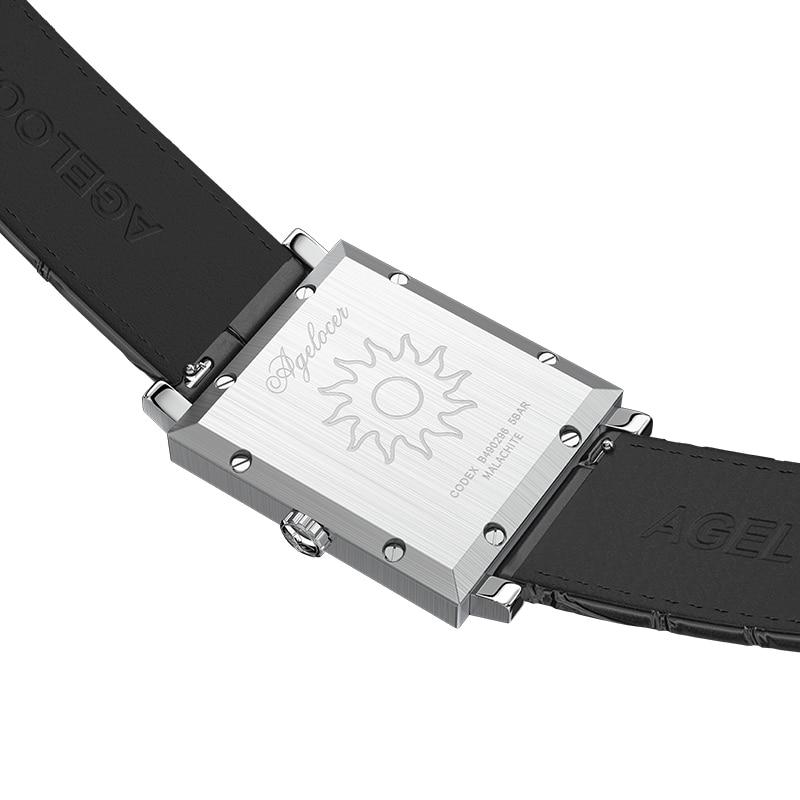 Women's Watch AGELOCER Top Brand Luxury Watch Women Waterproof Malachite Black Leather Belt Square Quartz Watches Clock Gift+Box enlarge
