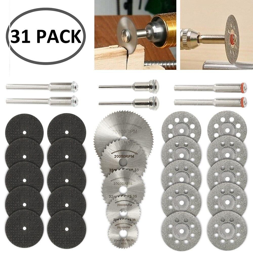31 Uds., ruedas de corte de diamante, hoja de sierra Circular HSS, herramienta rotativa para carpintería, Mini taladro Dremel, accesorios de herramienta rotativa