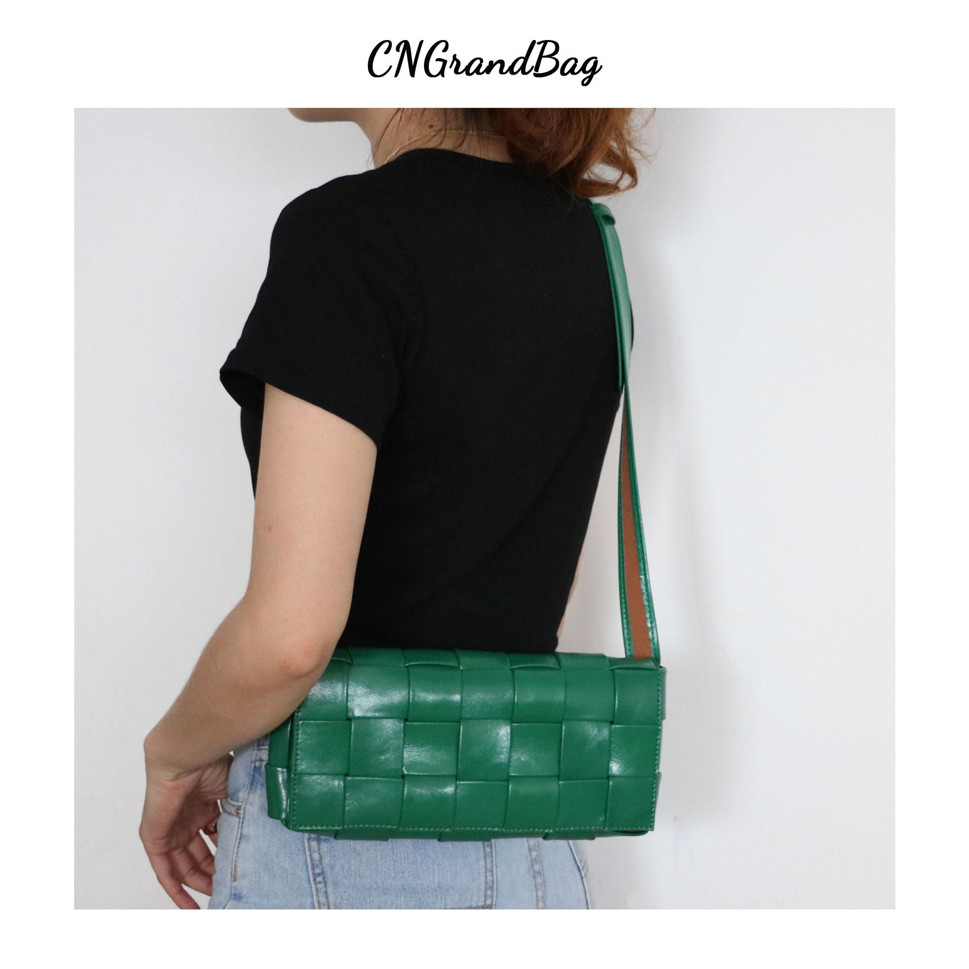 Fashion Weave Bag Women Leather Chest Bag Knitting Messenger Bag Square Shoulder Bag Lady Satchel Crossbody Bag Femal Flap Bag