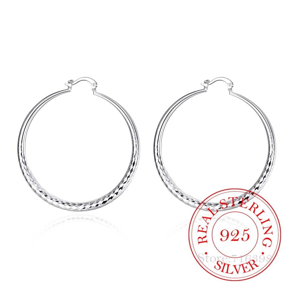 Diameter 5.1cm Hyperbole Classic 925 Sterling Silver Simple Big Pattern Circle Hoop Earrings For Women Silver Jewelry Pendientes