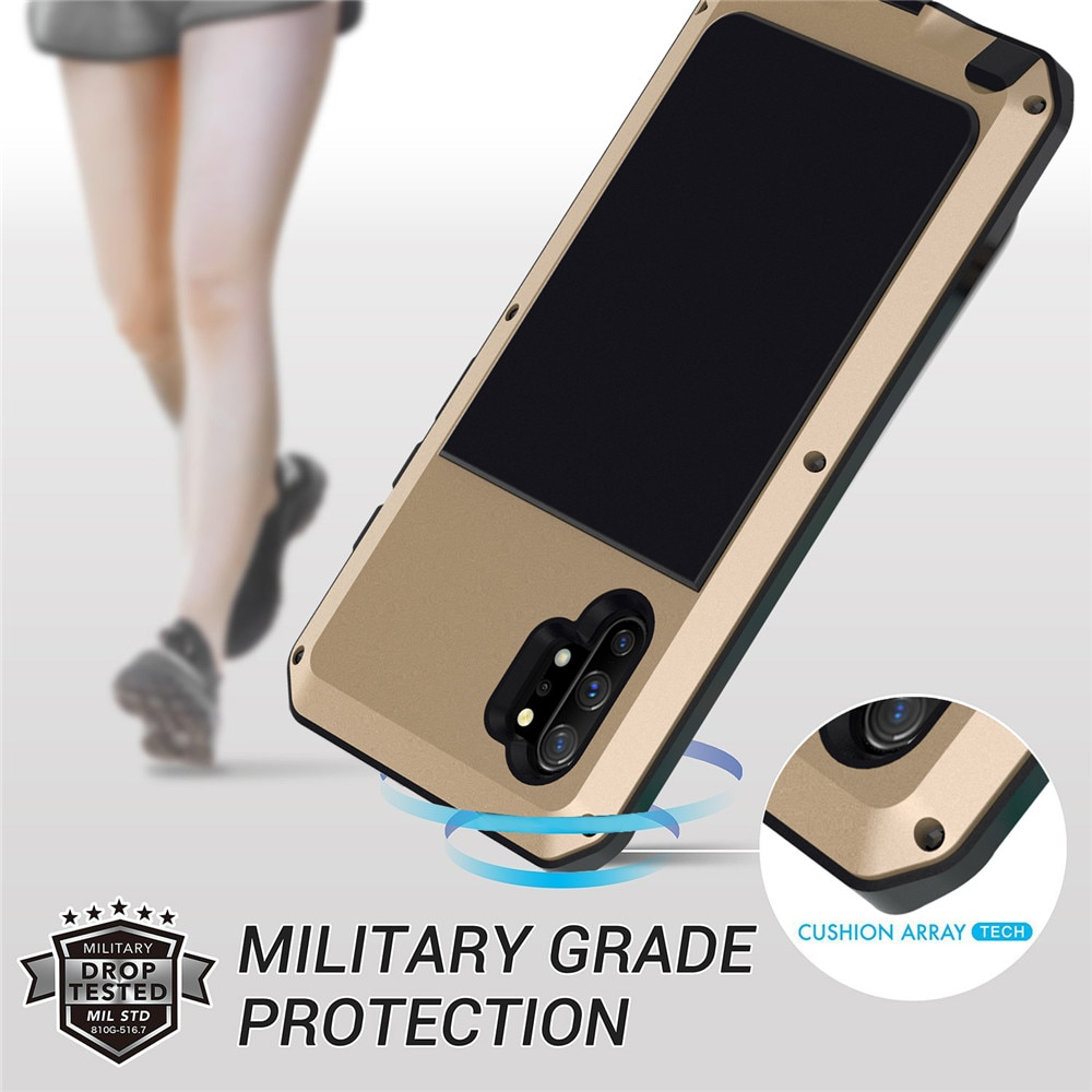 Funda impermeable al aire libre para Samsung Galaxy Note 10/Note 10 Plus funda de silicona de Metal armadura de lujo 360 funda de protección completa para teléfono