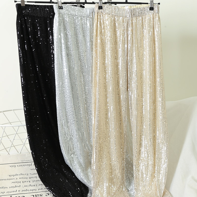 Cakucool prata completa lantejoulas 2020 calças de perna larga das mulheres cintura elástica bling luxo chique capris casual ouro longo pant feminino clube