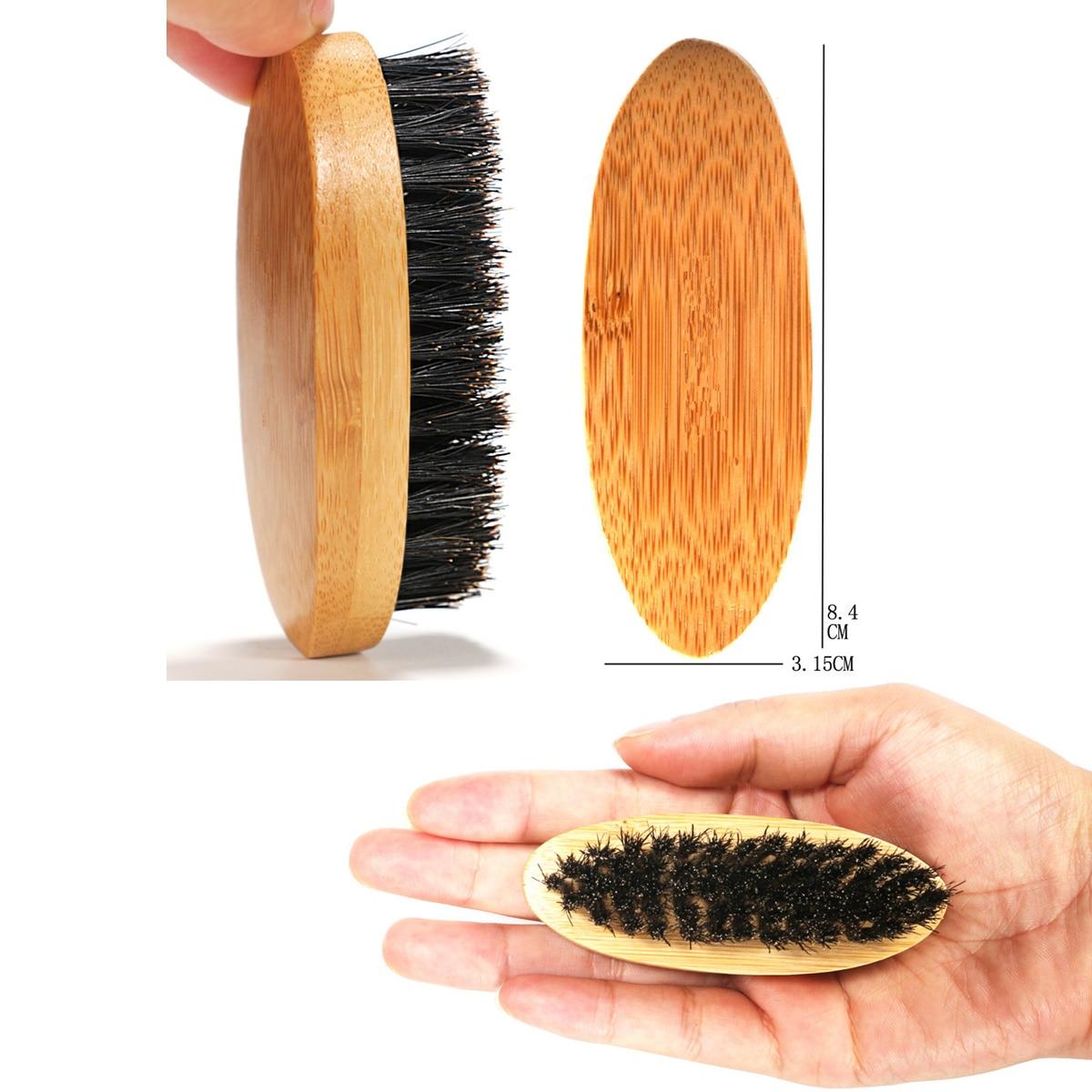 1pcs Mini Men Beard Brush Mustache Combs Hair Brush Bamboo Handle Boar Bristle Mustache Styling Detangling for Beard Comb