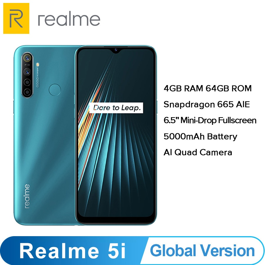 "Versión Global OPPO verdadero yo 5i (RMX2030) 4GB 64GB Snapdragon 665 AIE 12MP Quad Cámara 6,5 ""Smartphone 1600x720x5000mAh 4G"