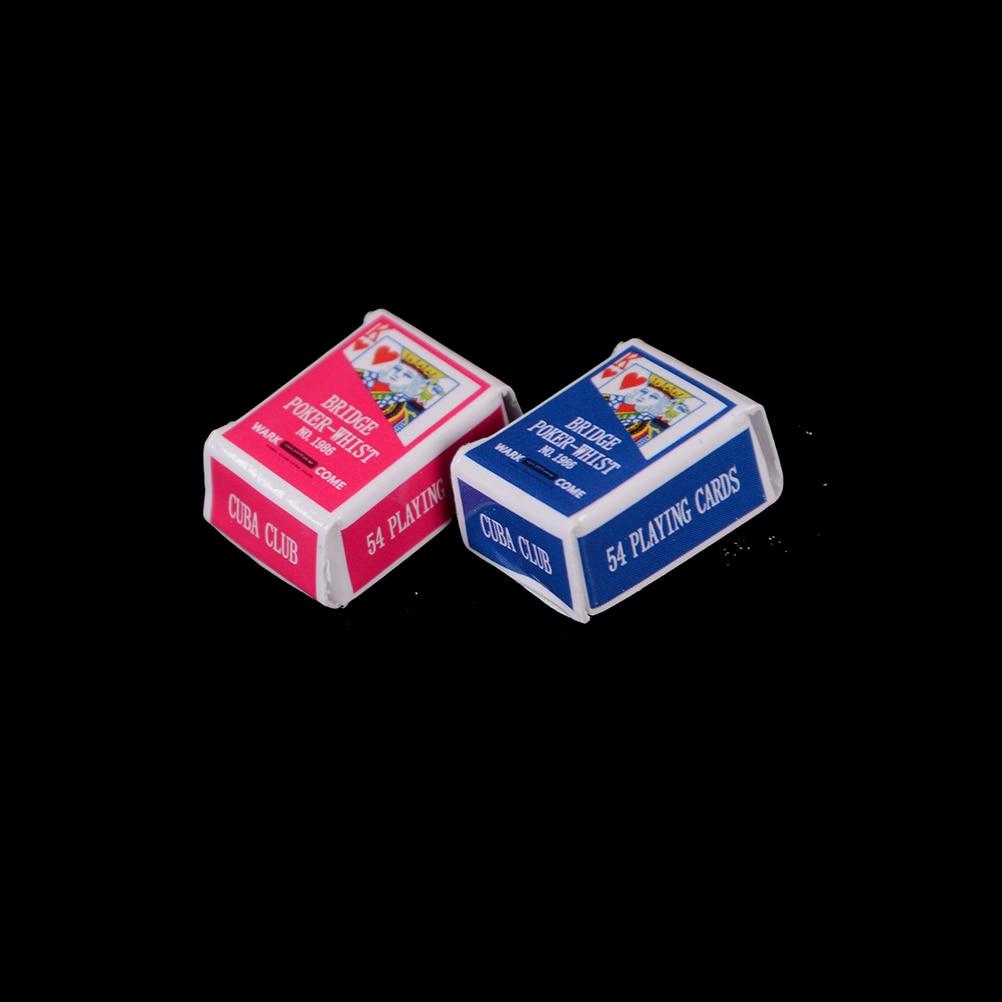 1 Set 1 Boxes 1/12 Scale Dollhouse Miniature Poker Card Pretend Play Toy