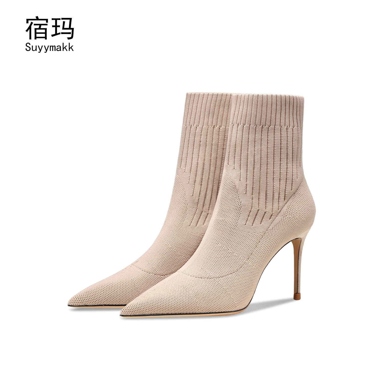 newest winter boots for women print flowers ankle boots pointed toe high heels boots 12 cm sexy stretch boots short dress shoes 2021 New Autumn Winter Sexy Socks Boots Women Pointed Toe Net Knitted Elastic Boots Women High Heels Shoes Fashion Short Boots 8