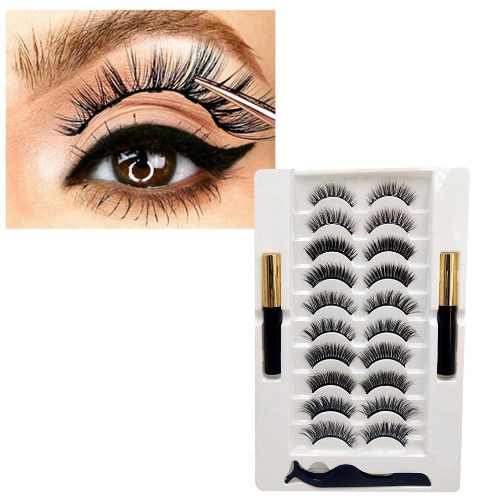 Magnetic Eyelashes With Liquid Eyeliner & Tweezer Kit Reusable Eyeliner Eyelashes Natural 2 False Pairs 3D Of 10 Bottles To Y5S7 недорого