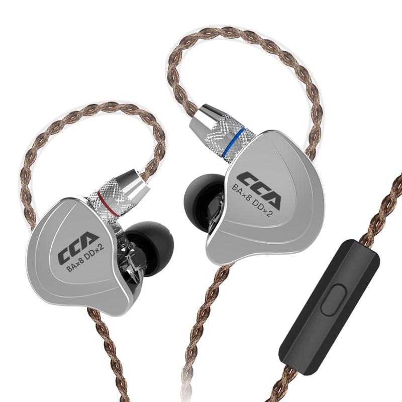 CCA C10 4BA 1DD 5 محرك وحدة سماعة الهجين في الأذن سماعة HIFI DJ تشغيل سماعة أذن رياضية انفصال 2PIN كابل AS10