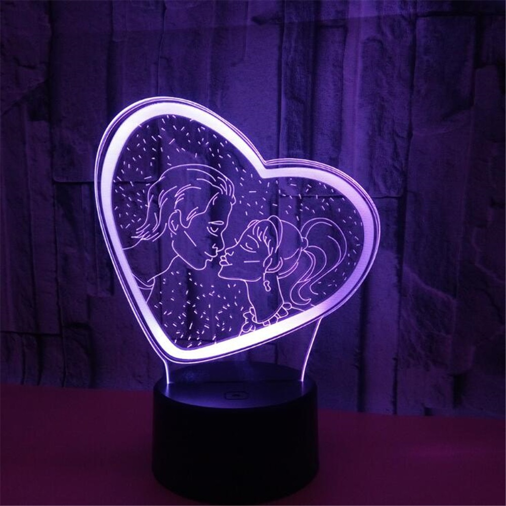 Любовник 3D ночное освещение украшение сердце освещение девушка пара подарки лампа романтическая спальня декор Lamparas поцелуй огни атмосфера